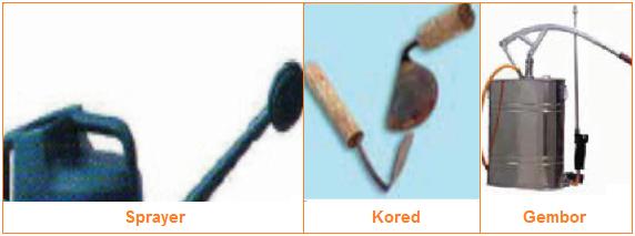 Alat pemeliharaan tanaman berupa gembor, kored, dan sprayer