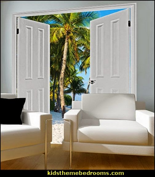 ropical Beach Solitude Cabana Door Window Mural Removable Prepasted Mural