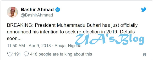 BREAKING News: President Buhari Declares Intention To Seek Re-election In 2019