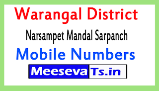 Narsampet Mandal Sarpanch Mobile Numbers List Warangal District in Telangana State