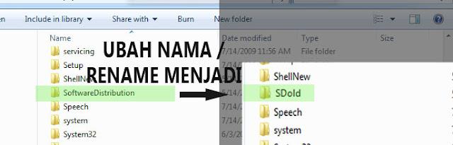 Gambar ganti nama folder SoftwareDistribution menjadi SDod Untuk Mengatasi Install Net Framework Error HRESULT 0xc8000222