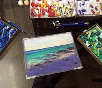 Steps involved in creating a soft pastel painting of a seashore