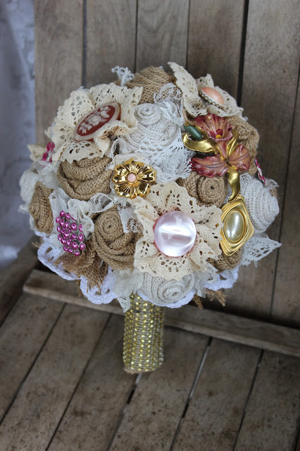 burlap and lace bouquet with pink and gold