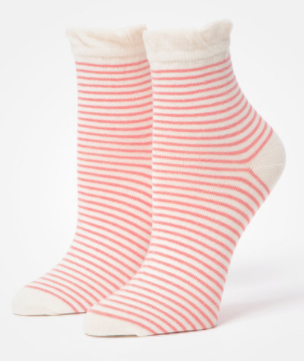 Pact Organic Clothing Sorbet Railroad Stripe Anklet Socks