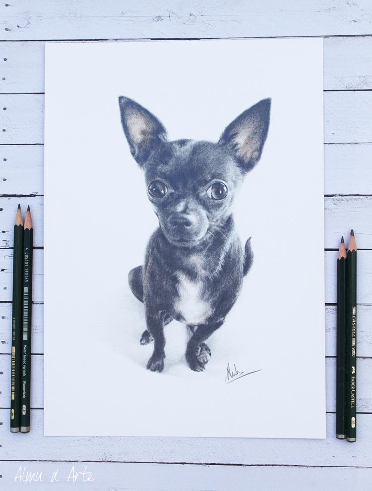 Dibujo realista de un perro