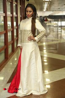 Telugu Actress Sri Reddy Mallidi Stills in White Beautiful Dress at Marriage Needs Bridal Fashion Week 2017 Logo Launch  0031.JPG