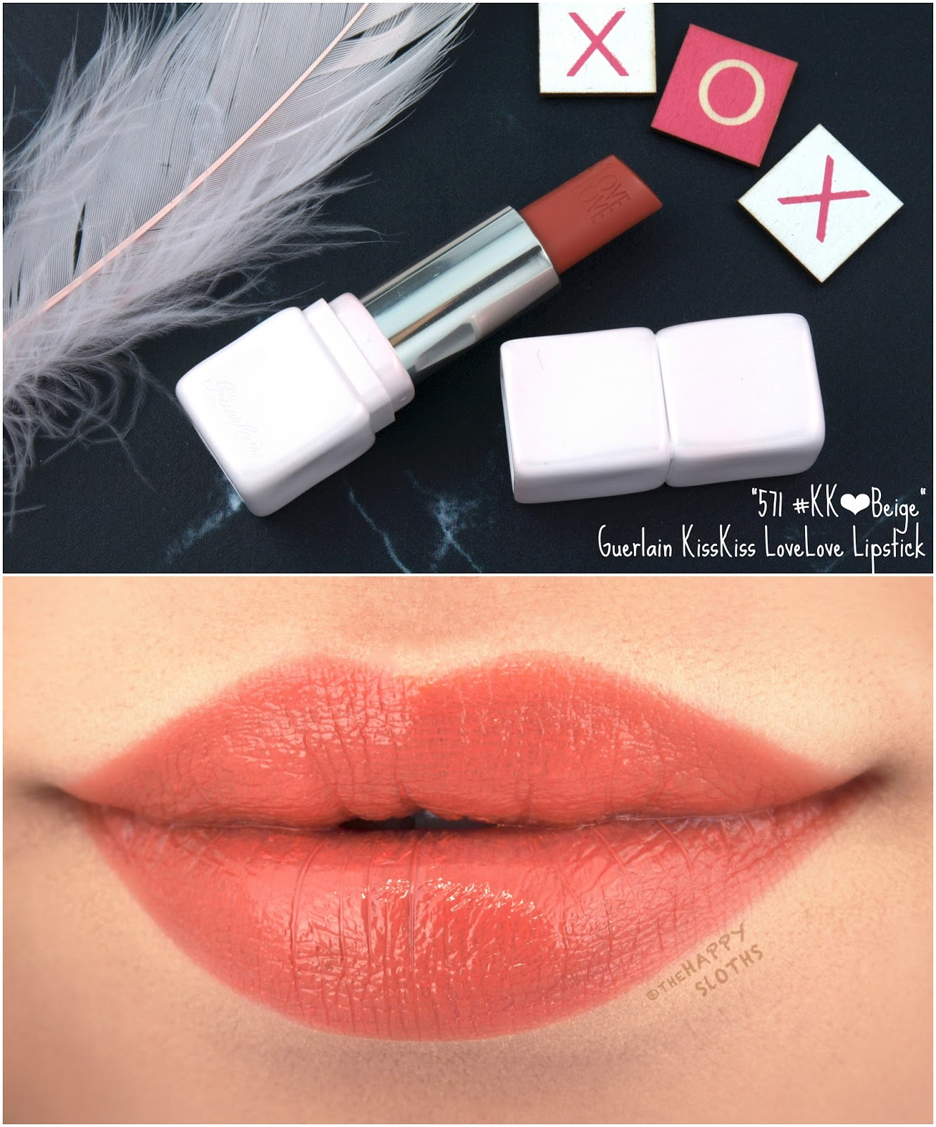 "Guerlain Spring 2018 Collection | KissKiss LoveLove Heart-Shaped Lipstick in ""571 Beige"": Review and Swatches"