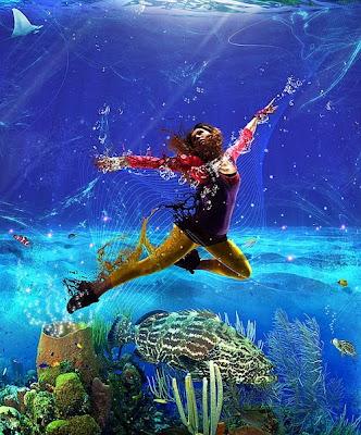 Manipulación o fotomontaje  fotográfico  mujer en el oceano