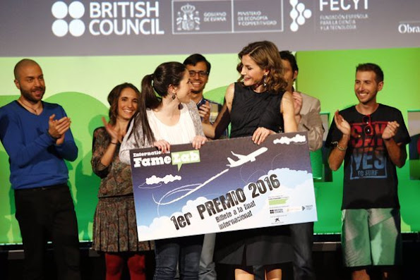 Queen Letizia attends final of FameLab España 2016 Scientific Monologues Contest held at the Cines Callao City Lights. Queen Letizia wore Nina Ricci top - Pre Fall 2016 Collection