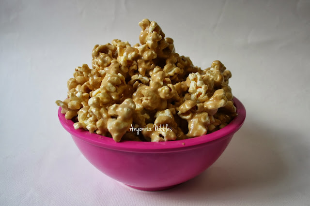 A bowl of marshmallow caramel popcorn from www.anyonita-nibbles.com