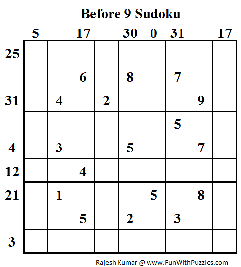 Before 9 Sudoku (Daily Sudoku League #90)