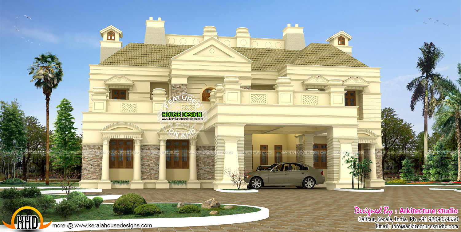 Luxurious colonial house kerala home design and floor plans for Colonial luxury house plans