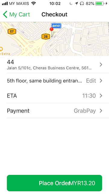 GrabFood checkout using GrabPay