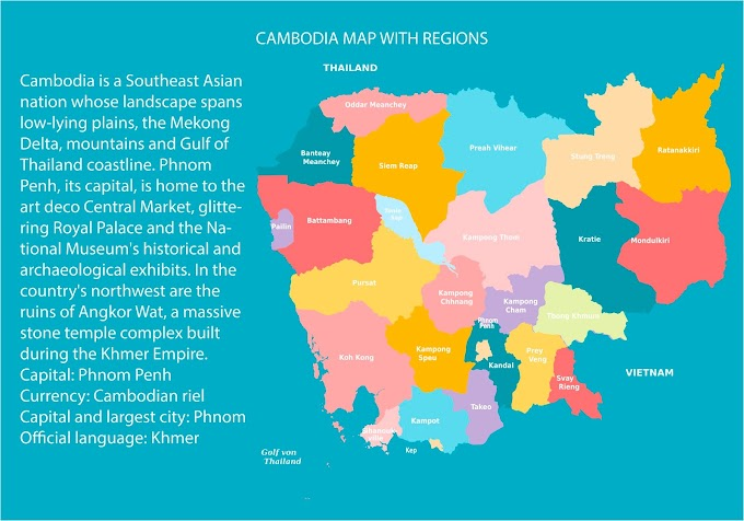 Colorful Cambodia Map With Regions free vector