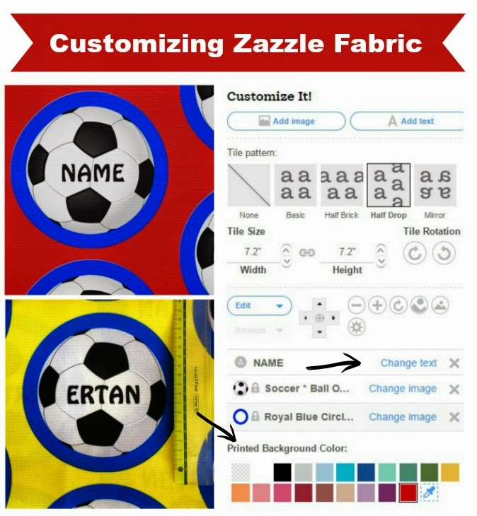 How to Customize Fabrics from Zazzle. change colors, add names, etc...