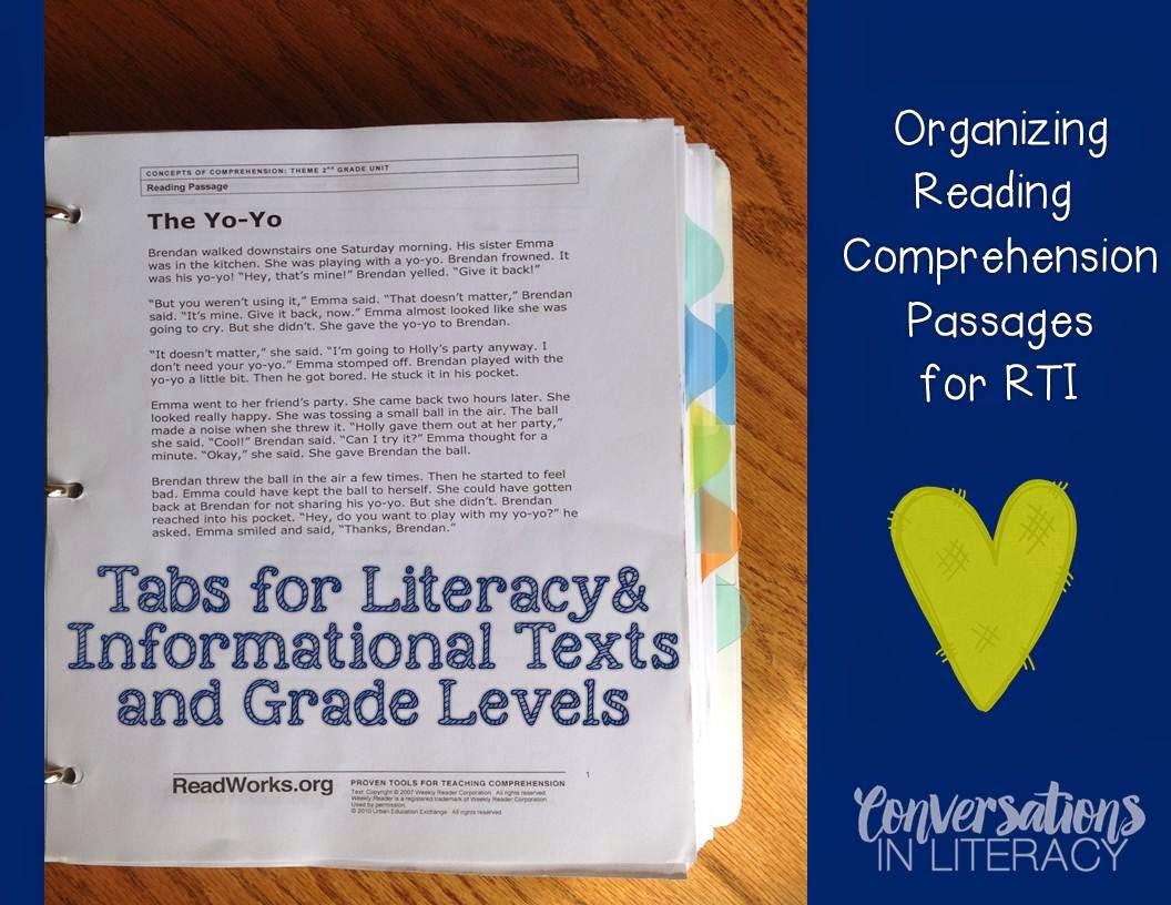 Reading Comprehension Passages Organization