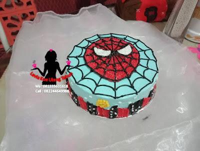 Kue Tart Bentuk Wajah Spiderman bahan Buttercream