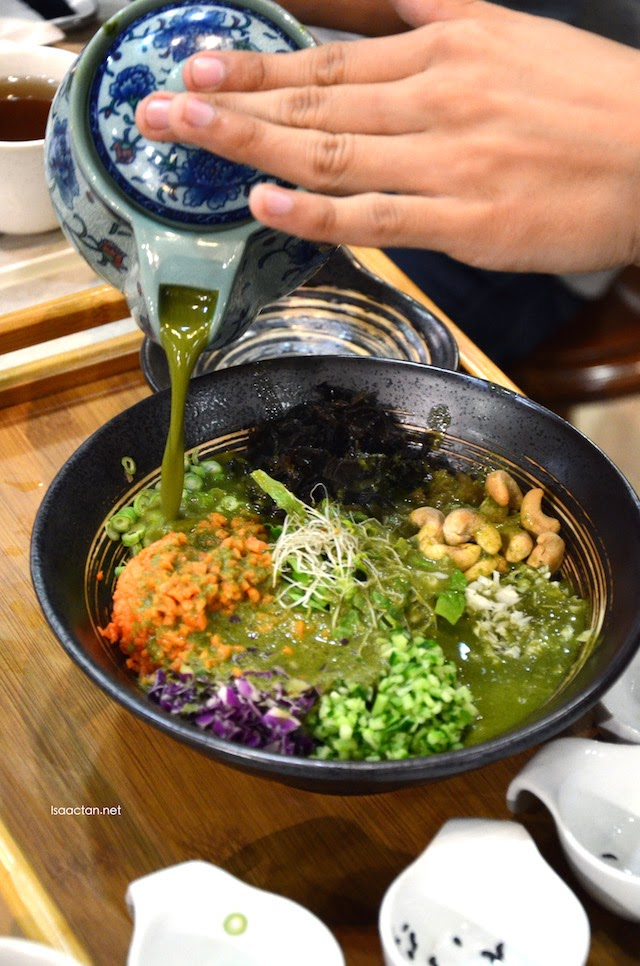 Mix it all in before pouring in the Lei Cha Soup