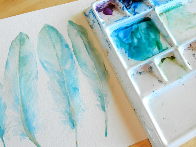 Blue Goose Feather Painting