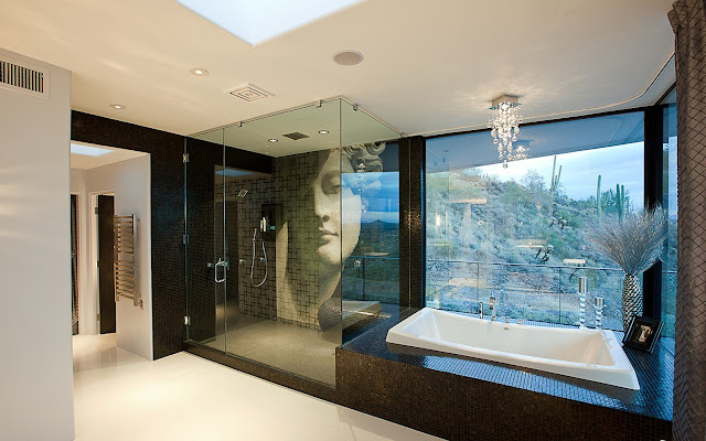 Bath tub and shower cabin in the Martin Home by Spry Architecture