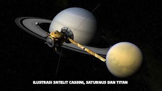 Ilustrasi Pesawat luar angkasa Cassini, Saturnus dan Titan