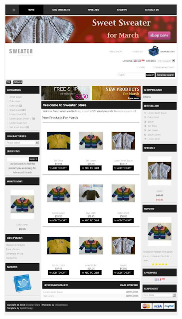 Free osCommerce 2.3.3 Template for Sweater Store