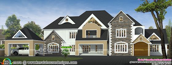 Luxury Victorian model sloping roof house with blue roof