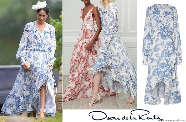 Duchess Meghan wore a blue and white floral print maxi dress by Oscar de la Renta