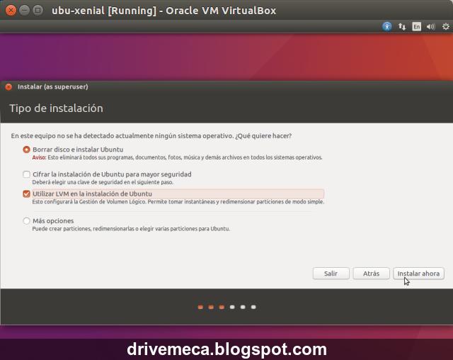 DriveMeca instalando Linux Ubuntu Xenial Xerus 16.04 LTS paso a paso