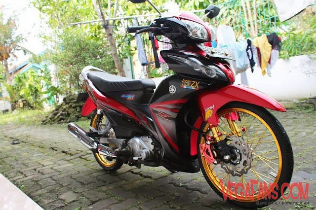 Modifikasi Jupiter Z New Merah Modif Simple Ban Cacing