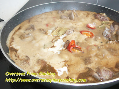 Ginataang Atay ng Manok, Chicken Liver in Coconut Milk - Cooking Procedure