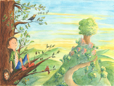 illu aquarelle nature garçon arbre