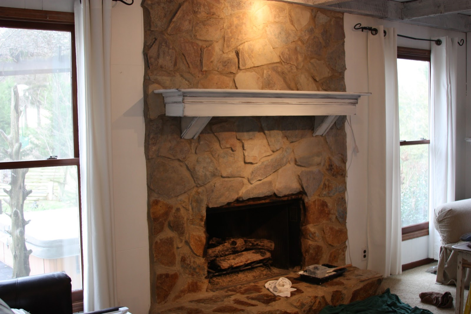 Erin39s Art And Gardens Painted Stone Fireplace Before And