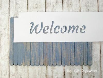 Insegna Coastal con stecchi gelato e stencil scritta Welcome - MLI