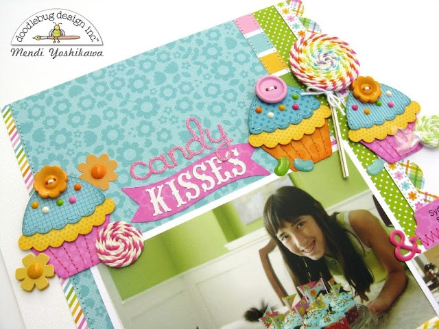 Doodlebug Chunky Twine Candy Kisses & Birthday Wishes Scrapbook Layout by Mendi Yoshikawa.