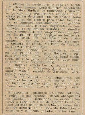 VI Campeonatos Nacionales de Ajedrez de Educación y Descanso, recorte en Ajedrez Español