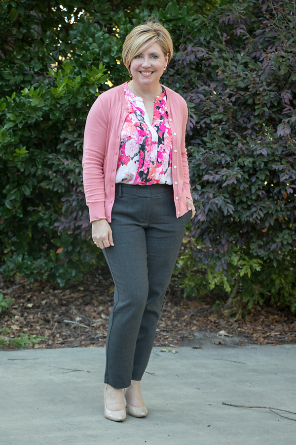 women's work wear with spring cardigan