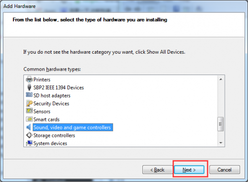 Install Sound Device Drivers