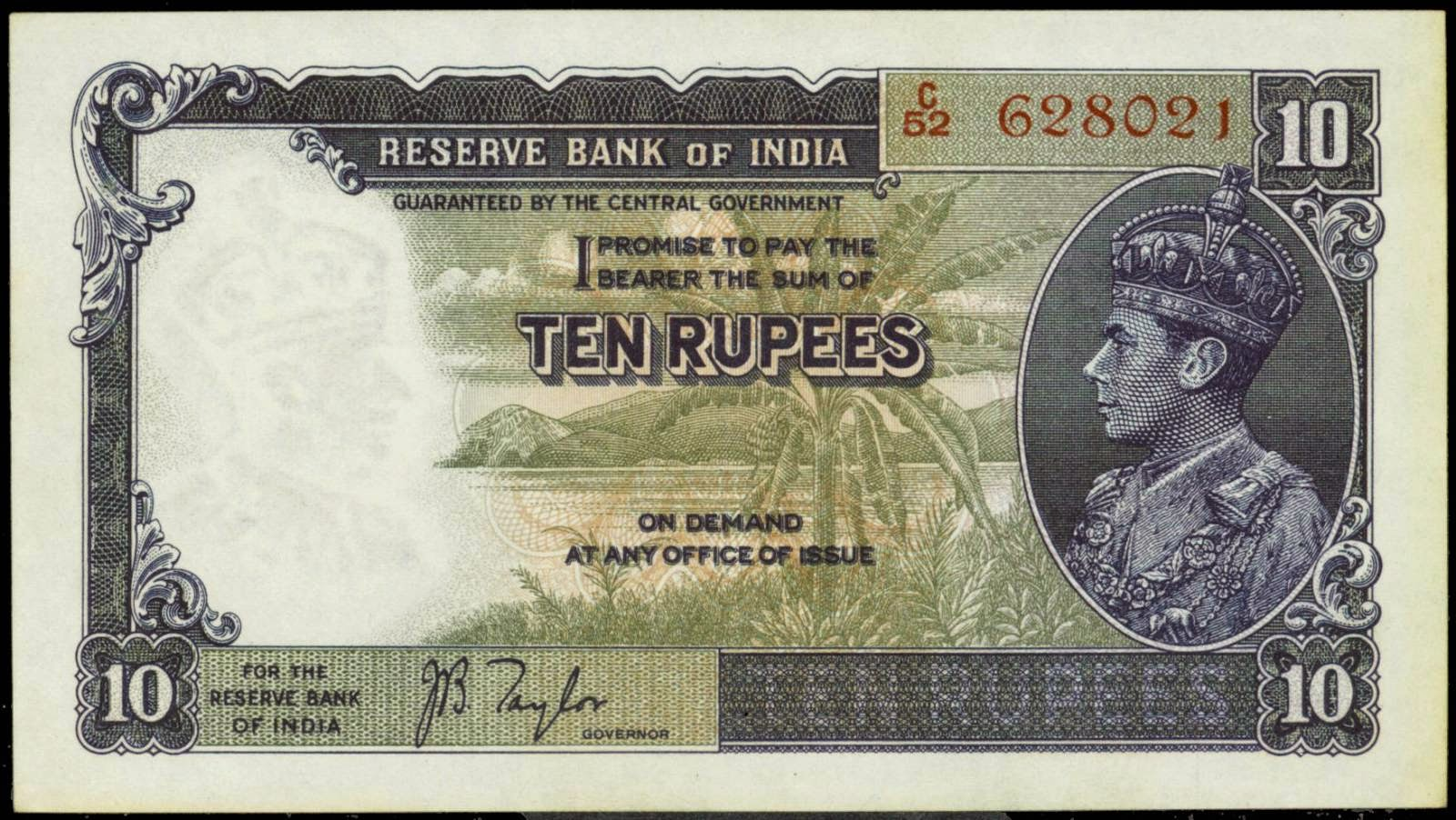 British India banknotes 10 Rupee Note 1937 King George VI in Profile