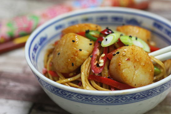 Five spice king scallops noodles recipe