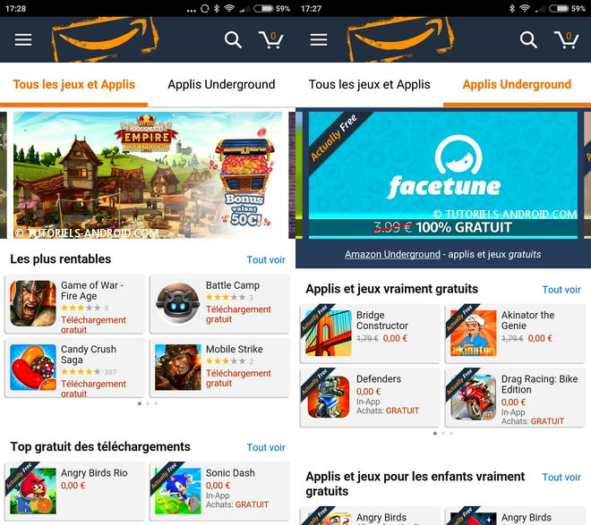 Captures d'écran : Amazon Underground App