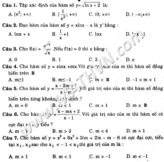 23 đề trắc nghiệm môn toán có đáp án