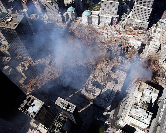 Aerial view of Ground Zero, in lower Manhattan, New York City (September 17, 2001) Photograph by Chief Photographer's Mate Eric J. Tilford