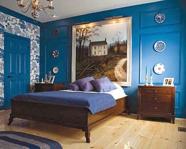 pequeña galería de fotos de dormitorios en marrón chocolate y azul