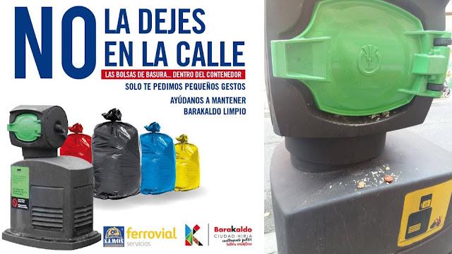 Anuncio municipal y situación de un buzón de recogida de basura