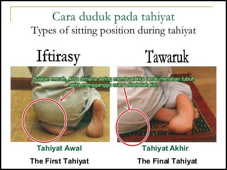 posisi duduk tahiyat awal dan akhir