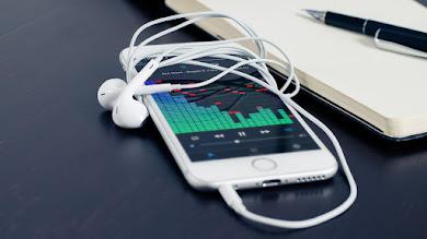 Smartphone. Headphones. Music. Technology