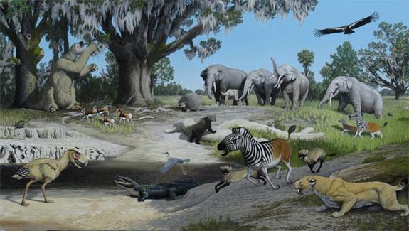 Aves e mamíferos pré-históricos