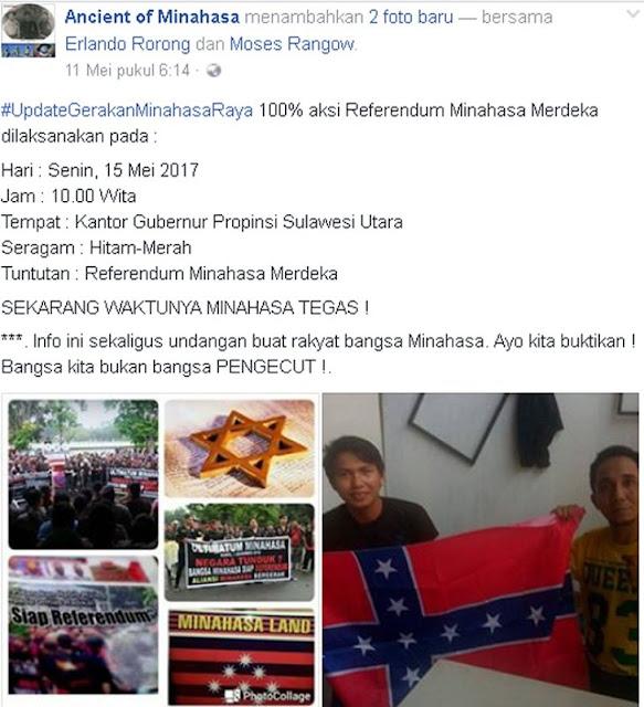 Ini Yang Nyata Makar, Pendukung Ahok di Manado Serukan Minahasa Merdeka dan Kibarkan Bendera Sendiri