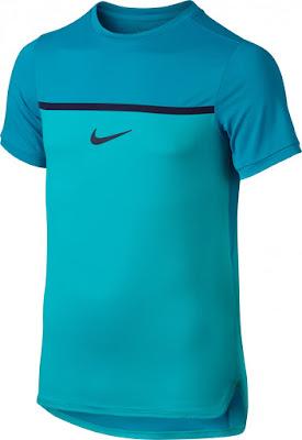 Dětské tenisové tričko Nike Challenger Premier Rafa Crew 802145-418 tyrkysové